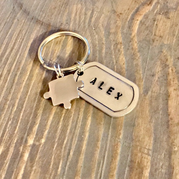 handmade Accessories - Hand stamped custom Autism support keychain